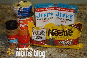 Two Boxes of Jiffy Corn Muffin Mix, 1/2 C Pumpkin Puree, 1/4t nutmeg, 1/cinnamon(optional - chocolate chips and muffin cups)