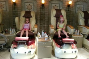 Mommy caved! We all went for pedicures.