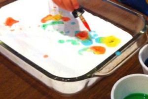 Baking soda, Vinegar, and Food Coloring...Watch it Fizz!  This will create hours of fun!