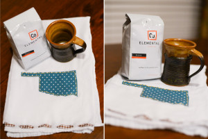 hand embroidered tea towel. locally roasted coffee beans. cute mug.