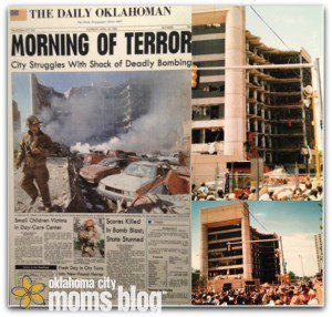 Left:  The Daily Oklahoman the day after the bombing. Right: The Murrah Building almost 1 month after the bombing.