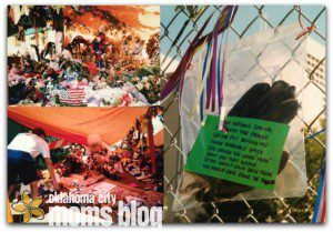 "Left: A make-shift memorial for the victims of the bombing.  Right:  A rescue worker left his gloves on the fence with a note:   ""I did nothing special So with the praise Let me put behind these horrible days I've heard the word 'hero' Don't use that name If you would have been there You would have done the same"""