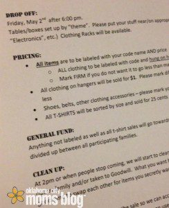 I may go a bit overboard with my directions for participating in our annual garage sale.