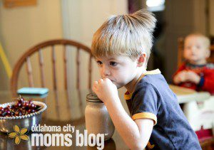 Enjoying a Chocolate Banana Smoothie packed with vitamins and minerals.  alternaVites Kids