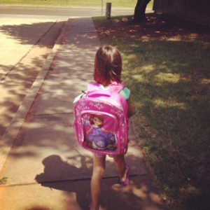 Our new routine - walking to school to avoid catastrophic car lines.