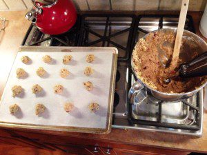 Scoop out dough onto a parchment-lined cookie sheet.