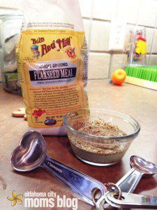 Mix the flaxseed with water and let set so it will soften.