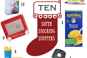 1. Giftcard to Shimmers 2. Bedre Chocolate 3. Safetytat 4. Annie's Homegrown Macaroni and Cheese 5. Birch Crayons 6. Thermos kids cup 7. Silly Putty 8. Gymboree Blbbles 9. Pocket Etch-A-Sketch 10. Bandaids
