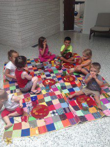 Channel summer with an indoor picnic