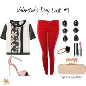 Mixing red, light pink, and black makes for a clean, polished, and festive Valentine outfit option.