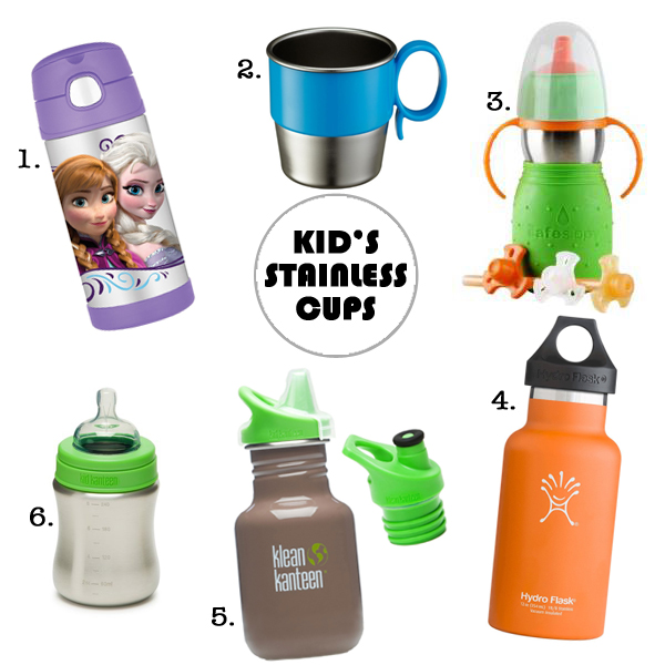 1. Thermos FUNtainer / 2. Innobaby Din SMART Stainless Cup / 3. The Safe Sippy 2-in-1 / 4. Hydroflask 12 oz. / 5. Klean Kanteen Sippy and Sport Lid / 6. Klean Kanteen 9 oz Baby Bottle