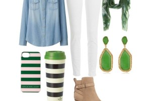 You can switch up a version of this look with dark denim jeans and a light denim top.