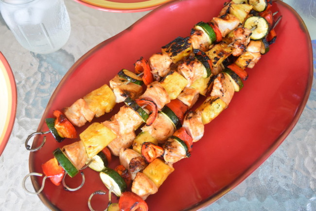 Mom Meets Grill Series - Teriyaki Chicken and Vegetable Skewers