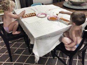 This activity combined two things my kids love...painting & make a mess!