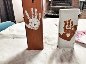 Painting handprints is almost more fun than painting the other side!