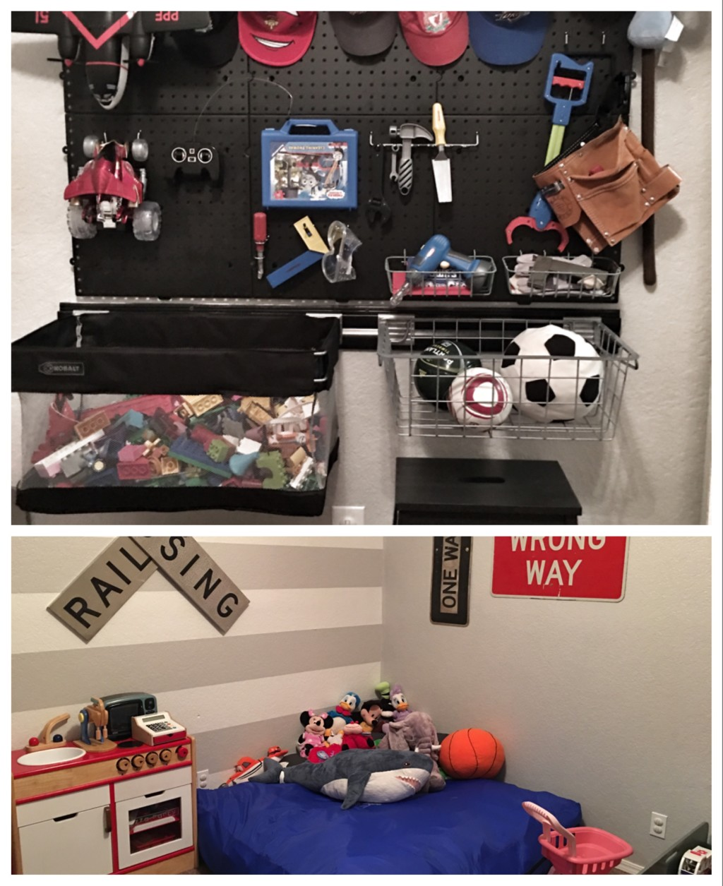 Would-be nursery set up as a play room for the older kids