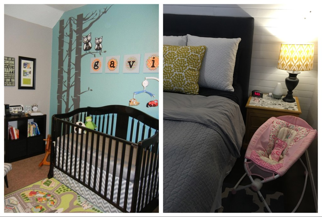 Crib set-up for the first baby vs pink hand-me down cradle for the third baby