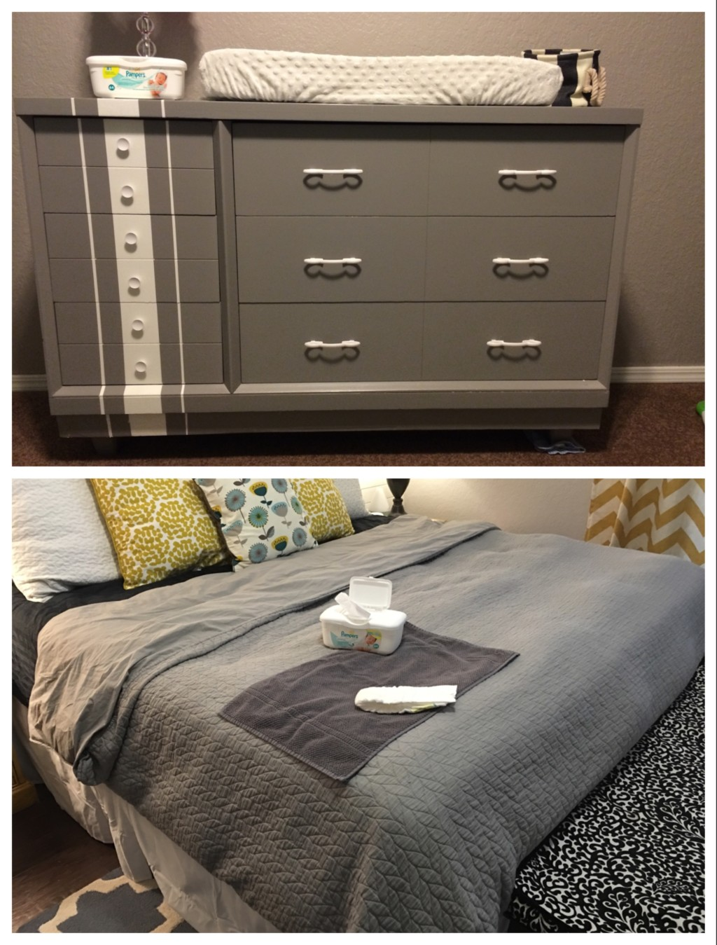 Changing table refinished for second baby vs designated changing area for third baby