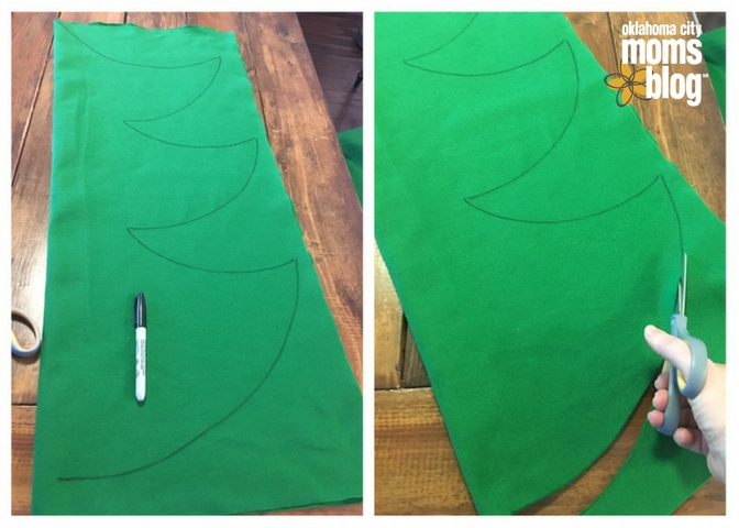 Draw a simple tree shape and cut it out
