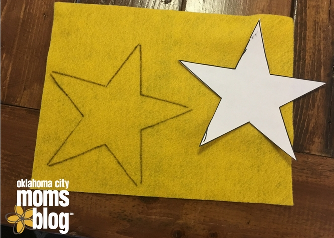 Trace a star on yellow felt and cut it out for the tree topper.