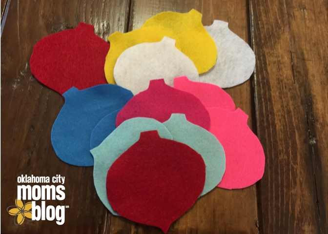 Cut out ornaments in a variety of colors.