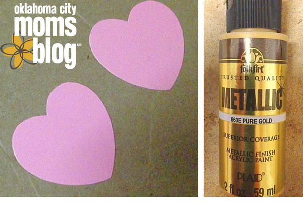 I am in love with gold right now so I chose metallic gold paint for my hearts.