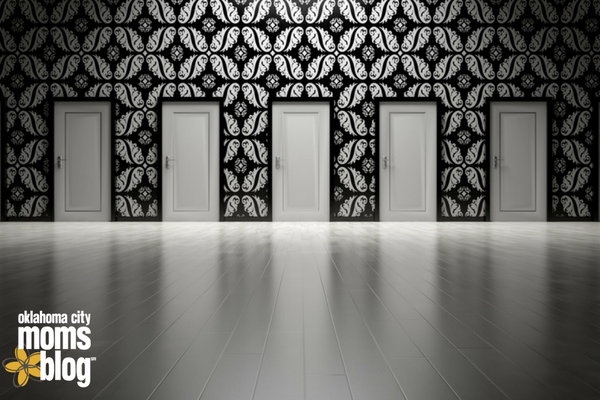 multiple doors in black and white