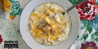The final product of the baked potato soup after I added my bacon and cheese.