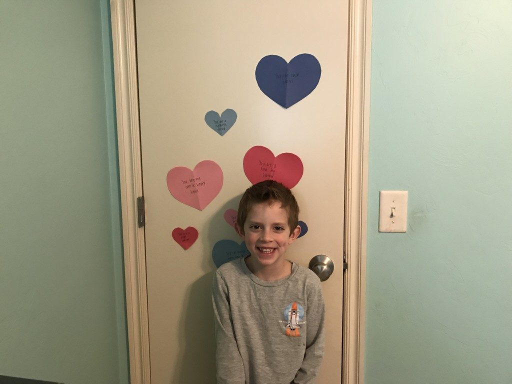 Valentine hearts on kid's bedroom door
