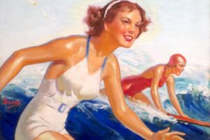 'Two_Surfer_Girls'_by_William_Fulton_Soare,_oil_on_canvas,_c._1935