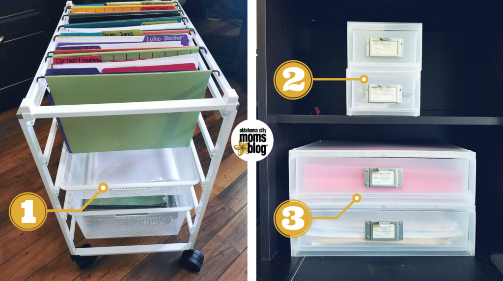 The Container Store organizing drawers and file cart